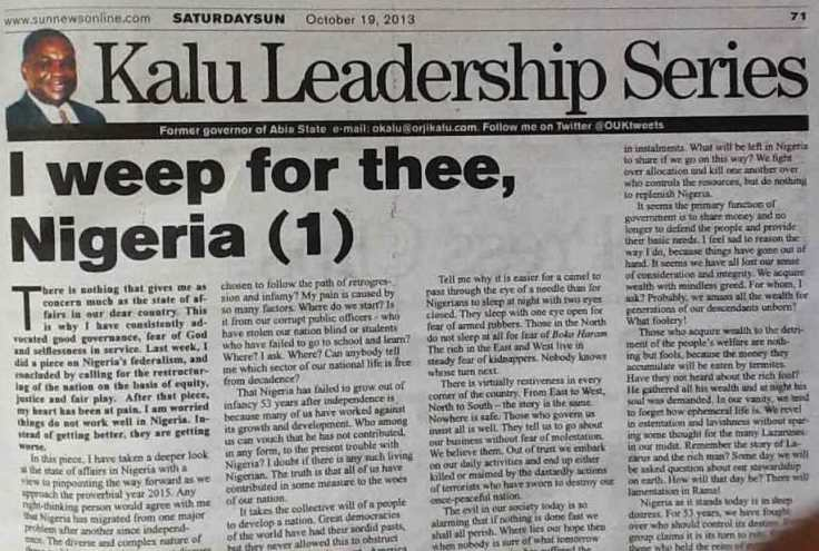 i weep for Nigeria article